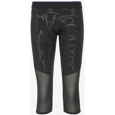 adidas by Stella McCartney Mesh Panel Logo 3/4 Legging ($90) ❤ liked on Polyvore featuring activewear, activewear pants, black, logo sportswear, adidas sportswear, adidas and adidas activewear