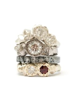 Unique engagement rings by Australian jewelers / mixed stone and diamond ring stack by Kim Victoria