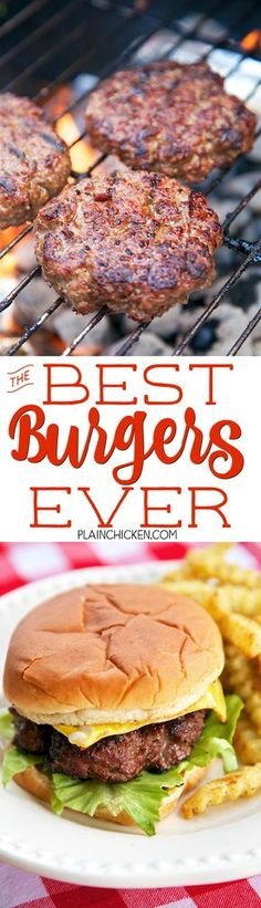 Best Burgers EVER! - these are hands down the best burgers I've ever eaten! SO good!!! Hamburger, onion, basil, teriyaki sauce, bread crumbs, parmesan cheese. We like to double the recipe and freeze uncooked hamburgers for a quick meal later. Great for tailgating!!