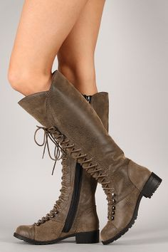 Ready to rock in this fabulously chic boot! Featuring round toe, lace up design at front shaft, stitching detail, and block heel. Finished with cushioned insole, soft interior lining, and full side zipper closure for easy on/off.