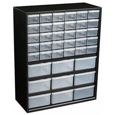 The Flambeau Parts-Station 39 Drawer Plastic Parts Cabinet is a convenient cabinet with multiple drawers with window to keep things in one place and organized. This multipurpose cabinet is made from h
