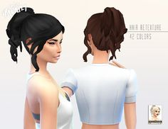 missParaply 'Kiara24 Curly Pony' Hair Retexture/ Mesh IS included. The Sims 4 CC