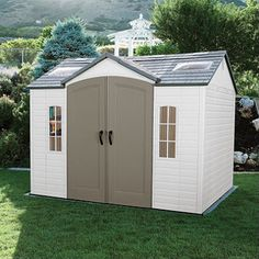 Lifetime 10 × 8 Outdoor Storage Shed Garden Backyard Utility Tool Box Patio NEW Plastic Storage Sheds, Outdoor Storage Sheds, Outdoor Sheds, Shed Storage, Built In Storage, Backyard Storage, Easy Storage, Shed Organization, Shed Kits