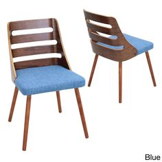 LumiSource Trevi Mid Century Modern Walnut Wood Accent Chair (Trevi Chair Blue) (Polyester Blend)
