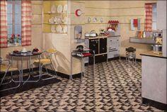1935 Retro Kitchen Flooring of Wonderful Retro Kitchen Design Sets and Ideas from Kitchen Designs Cocina Art Deco, Art Deco Kitchen, Vintage Kitchen Decor, Design Set, House Design, Design Room, Retro Design, Modern Retro Kitchen, Modern Kitchen Design