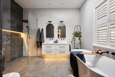 The Block 2020: Master Ensuite Reveals The Block Bathroom, White Bathroom Tiles, White Tiles, Design Bathroom, Bathroom Styling, Grey Floor Tiles, Grey Flooring, Smart Toilet, Black Bath