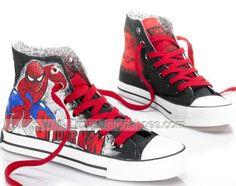 High Top #SpiderMan Painted Canvas Women/Men Shoes,High-top Painted Canvas Shoes