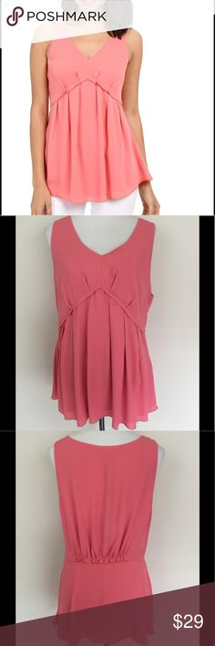 """Adrianna Papell Top Light Coral Pleate sleeveless blouse by Adrianna Papell, v-neckline, side zipper closure, darting at bust provides shape, elastic gathering at center back, staright hemline, 100% polyester, armpit to armpit 21"""" lenght 29"""" Size 16 NWT Adrianna Papell Tops Tank Tops"""