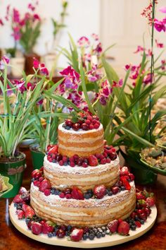 naked cake para casamento com frutas vermelhas