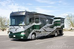A black and/or emerald green Class A RV (as seen in the pic)