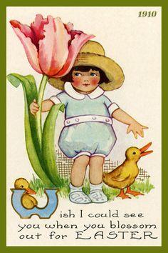 Child with Flower by Olde America Antiques. Child with Flower EASTER from Olde America Antiques Online. Easter Art, Easter Bunny, Happy Easter, Easter Ideas, Easter Eggs, Vintage Cards, Vintage Postcards, Vintage Images, Easter Illustration