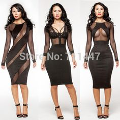 2015 clubwear party night club dress new sexy mesh lace long sleeve black lace dress bodycon bandage dress backless knee length