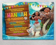 Moana Invitation, Moana Birthday, Disney Moana Party Invite, Maui Card Printables, Pua Printable Invitations, Ocean Adventure Movie Invites ►MATCHING THANK YOU TAGS ALSO AVAILABLE https://www.etsy.com/listing/513576499/moana-thank-you-tags-moana-birthday - THIS IS A DIGITAL FILE! NO PRINTED MATERIALS WILL BE MAILED / SHIPPED TO YOUR ADDRESS! - A Backside is included in this invitation. This is a 5x7 Invitation. - I will personalize your birthday invitation. You...