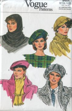 vogue 9454 vintage 80s hats and hood pattern UNCUT by vintagevice, $8.00