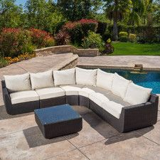 Trabuco 7 Piece Outdoor Wicker Sectional Seating Group with Cushions