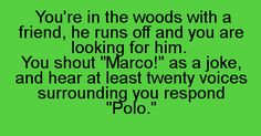 """You're in the woods with a friend. He runs off and you are looking for him. You shout, """"Marco!"""" as a joke and hear at least twenty voices surrounding you respond, """"Polo."""""""