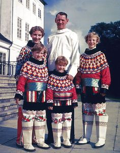 The Danish Royal Family dressed in the Greenlandic national costume pictured in front of Grsten Palace. Left to right: Princess Benedikte, P...