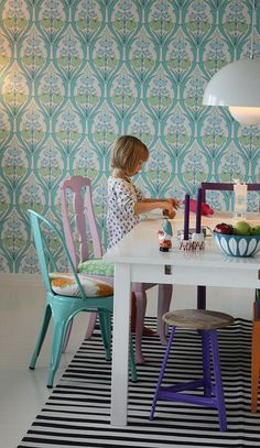 dining room with interesting combinations of colours and patterns