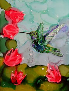 Humming Bird With Red Flowers Painting Alcohol by DomeLifeStudios