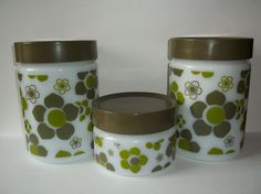 Set of 3 Vintage Anchor Hocking Milk Glass Canisters Retro Mod Green Flowers | eBay