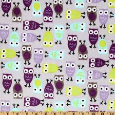 Cute for PJ bottoms Kaufman Minky Cuddle Night Owl Tiffany/Violet from @fabricdotcom  Designed by Ann Kelle of Robert Kaufman for Shannon Fabrics, this minky fabric has an extremely soft 3 mm pile that's perfect for baby items, blankets, throws, pillows and stuffed animals. Colors include apple green, Tiffany, black, snow white, lavender and violet on a light greyish-lavender background.