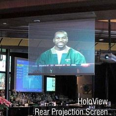 """HoloView Rear Projection Screen - 110"""" diagonal NTSC Format by Draper Inc. $8205.99. 127020 Features: -Image appears to float in space and will stop prospective customers in banks, showrooms, stores, tradeshows.-Dramatic visual images.-Transparent 1/4'' acrylic with see-through optical medium in its matrix.-Viewer can see a clear image AND see through the screen at the same time.-Can be installed on standing support, hung from ceiling or attached to a window or wall str..."""