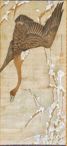 Goose in winter by Ito Jakuchu, Japanese hanging scroll Japanese Artwork, Japanese Prints, Japan Painting, Ink Painting, Chinese Painting, Chinese Art, Japanese Bird, Art Chinois, Art Japonais