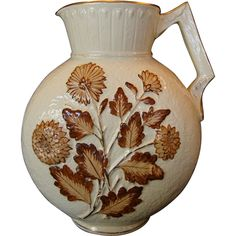 """Gorgeous Avalon Faience / Nearly 13"""" tall! Majolica Balt Ivory Decorative Moon Shaped Pitcher with Brown Chrysanthemums ~ Chesapeake pottery DF Haynes & Son Co 1879 – 1900"""