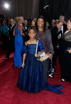 Quvenzhane Wallis and her mother Qulyndreia Wallis | The Moms Of The Oscar Red Carpet