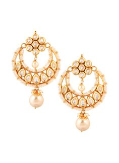 Add dazzle and glamour to your wedding or festive outfit with these Yosshita & Neha chaand balis that are so versatile that they can be paired with just about any outfit. The earrings have a beautifully finished top with a cluster of seven kundan stones, set in a floral pattern. Making the earrings further desirable is the elegantly crafted crescent shaped bali, with teardrop shaped kundan stones set in copper alloy.