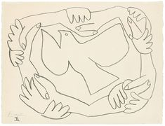 picasso Pablo Picasso Gebundene Hände II, 1952 - Famous Last Words Pablo Picasso Quotes, Pablo Picasso Drawings, Kunst Picasso, Picasso Art, Picasso Paintings, Line Drawing, Painting & Drawing, Pablo Picasso Zeichnungen, Guernica