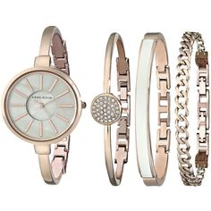 Anne Klein AK-1470RGST Watches ($150) ❤ liked on Polyvore featuring jewelry, watches, chain bracelet, analog watches, hinged bangle bracelet and magnetic clasp bracelet