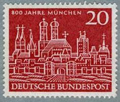 West Germany, 1958. Stamp celebrating the 800th Anniversary of Munich.