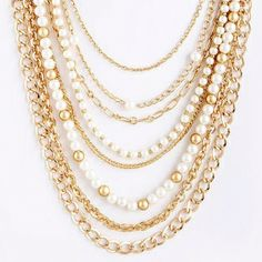 """As seen on ShopDesignSpark.com -Plated metal chain with pearl beads -16"""" with 3"""" extension -Imported"""