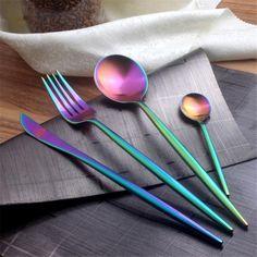 32-4PCS Iridiscente Arco Iris Colorido Vajilla De Acero Inoxidable Juego De Cubiertos Cuchara