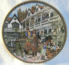 Vintage Royal Worcester Plate~Coaching Inns The Cat And The Fiddle~Sue Scullard Wall Decor Pictures, Worcester, New Zealand, Vintage Items, Coaching, Pottery, The Unit, Plates, Japan