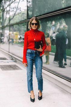 Red bell sleeve top, step hem denim jeans and pointed-toe heels