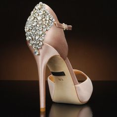 Gene by Badgley Mischka. Peep toe d'orsay platform featuring crystals at the back of the heel available at MyGlassSlipper.com, $245.  http://www.myglassslipper.com/GENE