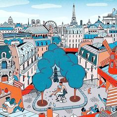 The City of Love in all its beautiful glory tres bien @vmillustrations  For your chance to be featured tag @greatlittleartists or  #greatlittleartists #behance #dribbbler #dribbble #creative #illustration #illustrationart