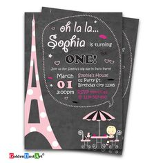 Paris Themed Invitation, Paris Themed Party, Paris 1st Birthday, Chalkboard Invitation, Poodle in Paris, Pink and Black by GoldenDustArt on Etsy https://www.etsy.com/listing/501011212/paris-themed-invitation-paris-themed