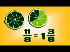 Fruit #Fractions -- animated maths lesson  Fractions, equivalent fractions, improper/mixed fractions #math Teaching Fractions, Math Fractions, Teaching Math, Equivalent Fractions, Comparing Fractions, Multiplication, Teaching Ideas, Fourth Grade Math, Third Grade Math