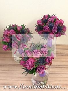 Wedding flowers. Ocean Song Rose and Blue Thistle bridal party bouquets.