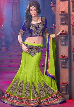 Desginer Lehenga ! Green #Net #flared lehenga designed with Embroidery. As shown in the photo choli is available.  INR:-10,070 -With Exciting 25% Discount !