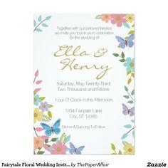 "Fairytale Floral Wedding Invitation 5"" x 7"""