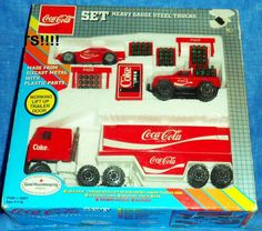 REMCO Coca Cola Heavy Gauge Steel Trucks Set 1988 vending machine, barriers, car #Remco