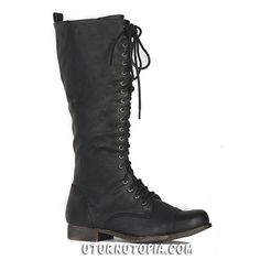 """-Knee High Lace Up Combat Style Boots W/ Adjustable Laces and Zipper for An Easy On and Off. -Distress Black -Man Made Materials -1 1/2"""" Heel -U.S. Women's"""