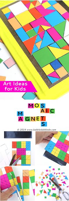 Art Ideas for Kids: Make geometric mosaic magnets with our free printable and magnetic sheets