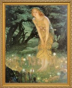 "Midsummer Dream By Edward Robert Hughes. Art Print Poster. Framed (18 1/8"" x 22 1/8"", Custom Made Real Wood Gold Traditional Frame #15)"