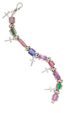 Bracelet with Cane Glass Beads and Sterling Silver Crosses...would look just as nice with only one cross as a focal point