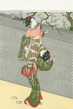 "This work is ""Beautiful woman folding plum"" of ""Harunobu Suzuki"". Kirigami, Ancient Japanese Art, Japan Painting, Art Japonais, Japanese Prints, Japan Art, Old Art, Woodblock Print, Vintage Japanese"